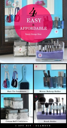 I SPY DIY x Glamour: 4 Easy and Affordable Beauty Storage Ideas: Girls in the Beauty Department. Diy Beauty Storage, Make Up Storage, Diy Storage, Storage Ideas, Storage Organizers, Diy Makeup Organizer, Beauty Organizer, Makeup Holder, Bathroom Organization