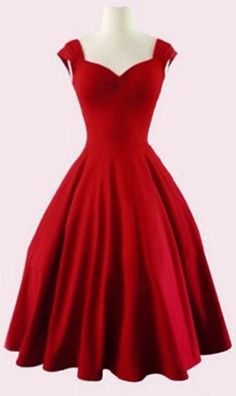 Stunning Red Dress! Gorgeous Retro Sweetheart Neck Solid Color Sleeveless Holiday Party Dress