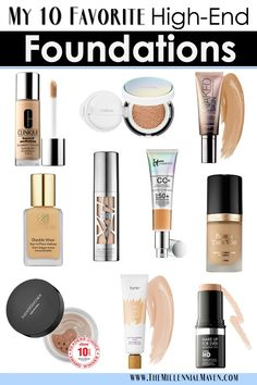 *UPDATED Best foundation for oily skin & the best foundation for dry skin, and the best full coverage foundation. My 10 Favorite High-End Foundations For All Skin Types (Best Foundation at Sephora) Best Full Coverage Foundation, Best Foundation For Dry Skin, Beste Foundation, Best Foundation For Combination Skin, Long Lasting Foundation, Foundation Tips, Makeup Foundation, Beauty Tips For Skin, Skin Care Tips