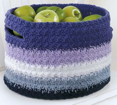 A crochet basket! Would look amazing with an ombre or color-dipped theme!