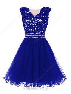 A-line Scoop Neck Tulle Short/Mini Appliques Lace Cute Prom Dresses