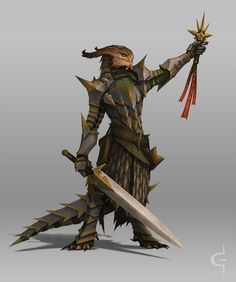 Lightbringer by corndoggy dragonborn lizardman troglodyte paladin fighter knight armor clothes clothing fashion player character npc | Create your own roleplaying game material w/ RPG Bard: www.rpgbard.com | Writing inspiration for Dungeons and Dragons DND D&D Pathfinder PFRPG Warhammer 40k Star Wars Shadowrun Call of Cthulhu Lord of the Rings LoTR + d20 fantasy science fiction scifi horror design | Not Trusty Sword art: click artwork for source