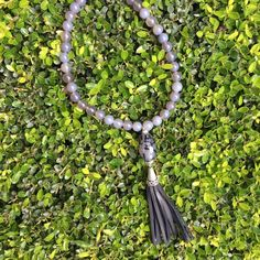 Black Tassel and Grey Beaded Necklace by Hensley Grace Designs.