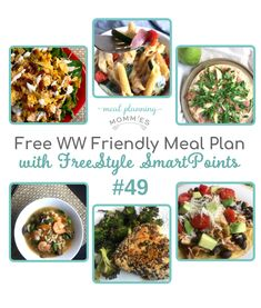 This free WW meal plan includes FreeStyle SmartPoints per serving! Printable meal plan page, grocery list, and recipe pages included. Ww Recipes, Popular Recipes, Gourmet Recipes, Healthy Recipes, Healthy Meals, Healthy Cooking, Healthy Food, Weight Watchers Meal Plans