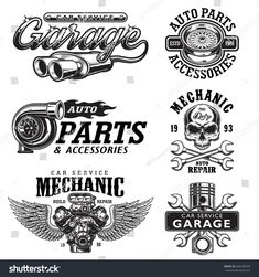 Set of vintage monochrome auto repair service templates of emblems, labels, badges and logos. Isolated on white background.