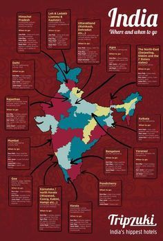 India is a vast and brilliant country to visit. But somewhere so big can be tricky to navigate — you don't want to end up in Pondicherry when the monsoon hits! Infographic on the best time to visit each state in India. India Travel Guide, Asia Travel, Traveling To India, Travel In India, Tourism India, Girl Travel, Travel Maps, Vietnam Travel, Italy Travel