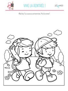 Coloriage Vive la rentrée 🎒 A imprimer sur Momes Holiday Homework, Pattern Worksheet, Classroom Board, Welcome Back To School, Board Decoration, Kids Corner, Cover Pages, Drawing For Kids, Coloring For Kids