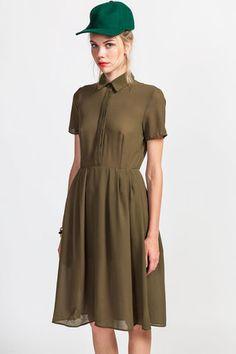 olive short sleeve midi dress.