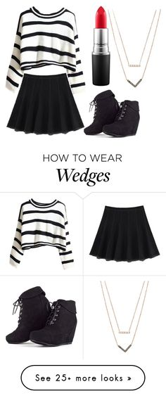"""""""BLACK + WHITE"""" by madelinely on Polyvore featuring MAC Cosmetics and Michael Kors"""