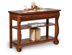 Amish Sleigh Open Sofa Table with Drawer
