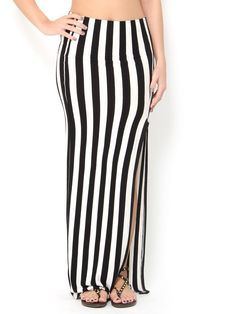 #Vertical #Stripe Maxi #Skirt Fall Outfits, Fashion Outfits, Womens Fashion, Glam Doll, Striped Maxi Skirts, Warm Weather Outfits, Vertical Stripes, Fashion Beauty, Celebrity Style