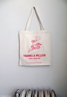 Screenprinted Cotton Twill Thank You Tote - Reusable version of flowered plastic grocery bag - off Plastic Grocery Bags, Reusable Shopping Bags, Reusable Tote Bags, Over The Shoulder Bags, Casual Bags, Cloth Bags, Canvas Tote Bags, Cotton Tote Bags, Screen Printing