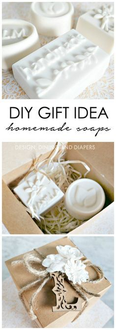 DIY Gift Idea Homemade Soaps With Gift Wrap by MichaelsMakers Design Dining and Diapers Homemade Soap Recipes, Homemade Gifts, Diy Gifts, Best Gifts, Soap Packaging, Soap Making, Diy Beauty, Making Ideas, Gift Wrapping