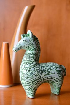 Items similar to Midcentury Mod Horse Ceramic Sculpture in Seafoam Green like Swedish Wooden Dala Horse, Sweden, Scandinavian Folk Design on Etsy
