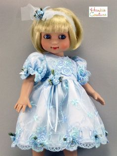One-of-a-kind doll dress by designer Marsha Greenberg of Hankie Couture…