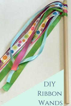 DIY Ribbon Wand- super simple to make. Perfect for princess loving littles. Ribbon Wands, Diy Ribbon, Princess Dress Up, Kindergarten Art, Creative Activities, Best Mom, Mom Blogs, Super Simple, Helpful Hints