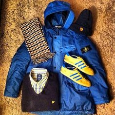 LOVIN THIS COMBO OF LYLE&SCOTT, STONE ISLAND AND MALMOS Football Casual Clothing, Football Casuals, Bape, Casual Wear For Men, Casual Outfits, Men's Outfits, Casual Clothes, Outfit Grid, Sport Wear
