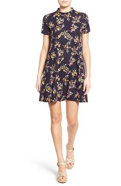 Lush Floral Print Mock Neck Dress
