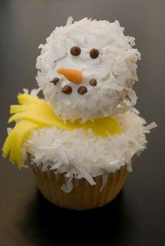 snowman cupcake.  Mini cupcake as the head.  Cute!
