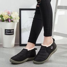 Boot Type: Snow Boots Lining Material: Short Floss Outsole Material: Rubber Toe: Round Toe Closure. Flat Boots Outfit, Casual Boots, Winter Fashion Boots, Boots For Sale, One Piece Swimwear, Snow Boots, Slip On, Heels