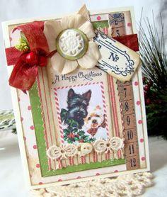 adorable, handmade, Christmas card, vintage, dogs
