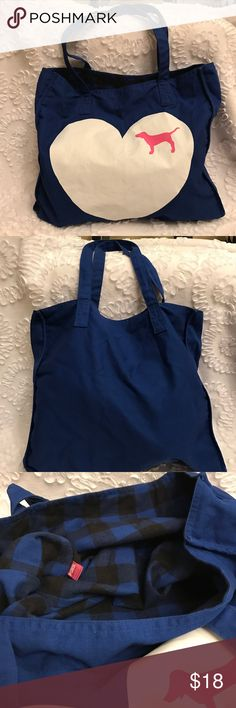 VS PINK Tote!! Signature heart and dog Pink Bag!  The inside is a plaid blue and black.  TONS of room in this thing!  Gently pre-loved!  You'll love it! Bags Totes