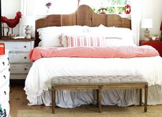 """I had one of """"those"""" days and bed will be so good tonight. I made the headboard from 100 year old planks from our house. Sharing for: cottage style bedroom, very cool headboard Cool Headboards, Fresh Farmhouse, Planks, Cottage Style, Red And White, Bedrooms, Chalet Style, Planking, Bedroom"""