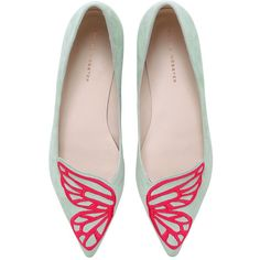 Sophia Webster Women 10mm Bibi Butterfly Wings Suede Flats found on Polyvore featuring shoes, flats, flat pointed toe shoes, suede flats, embroidered shoes, flat pump shoes and suede shoes