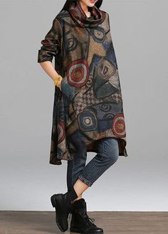 Pocket Design Printed Long Sleeve Asymmetric Hem Dress