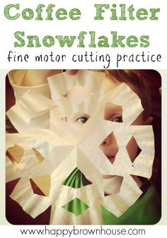 Help preschoolers strengthen fine motor skills and get cutting practice with coffee filter snowflakes. It makes a great winter decoration and is easy for kids to practice cutting.
