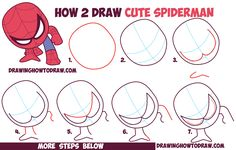 How to Draw Cute Spiderman (Chibi / Kawaii) Easy Step by Step Drawing Tutorial…