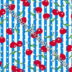 RUB118 Red on Blue Cherry White Spot & Stripe | Digital Print | Lycra Fabrics | Stretch Fabrics | Dancewear Fabrics | Swimwear Fabrics | Cherry Print