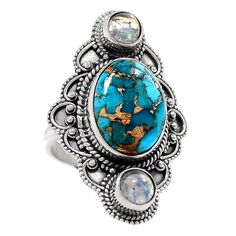 Copper Blue Turquoise 925 Sterling Silver Ring s.6.5 Jewelry RR7012   eBay