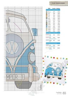 VW van, blue, right side Cross Stitch Pillow, Cross Stitch Love, Cross Stitch Charts, Cross Stitch Designs, Cross Stitch Patterns, Cross Stitching, Cross Stitch Embroidery, Embroidery Patterns, Loom Beading