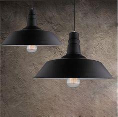 Vintage Wrought Iron Lid Pendant Lights Black/White Industrial Ceiling Pendant…