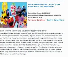 Win Tickets To See The Sesame Street World Tour Win Tickets, Rock Concert, Have Fun, Tours, San, Street, World, Walkway, Peace