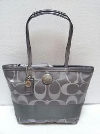 FREE SHIP - NWT! COACH Signature Stripe 3 Color Metallic Grey / Silver Tote Shoulder Bag F20429
