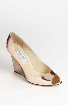 Why You Cannot Wear Cheap Wedding Shoes (and a few of our favorite designer wedding shoes) Wedges – the ultimate combo of style and comfort. Love this rose gold pair by Jimmy Choo, $650 at Nordstrom (also comes in champagne glitter!)
