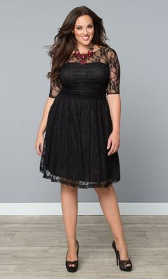 Snag our best-selling plus size Luna Dress in Vintage Lace at a great price! Shop our entire sale section and made in the USA collection online at www.kiyonna.com.