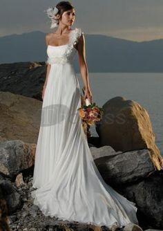 Abiti da Sposa Spiaggia-Una linea di abiti da sposa spiaggia in chiffon treno