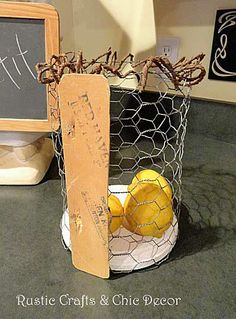 diy chicken wire basket  by rustic-crafts.com