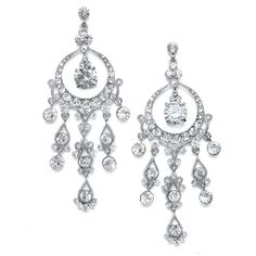 """Dramatic 4"""" Crystal Wedding and Prom Chandelier Earrings - Affordable Elegance Bridal -"""