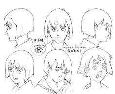 【日本已故动画大师 今敏 执导的动画片《千年女优》角色头像转面画稿】