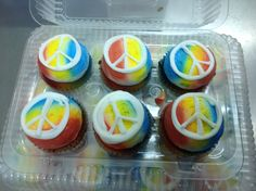 Calumet Bakery  Airbrushed cupcakes with peace sign drawing