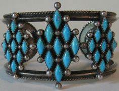 WIDE VINTAGE NAVAJO INDIAN STERLING SILVER TURQUOISE CUFF BRACELET