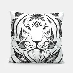 Tiger Plucked, Live Heroes #art #loujah #liveheroes #throwpillows #homedecor #coussin #boho #bohemian
