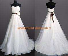 Glamourous Brautkleid A-Linie 2013 aus Chiffon mit Blumen