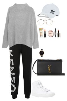 """High sneakers x Track Pants"" by irisazlou on Polyvore featuring mode, Kenzo, Vince, Common Projects, Yves Saint Laurent, Linda Farrow, adidas Originals, Garnier, NYX et Maybelline"