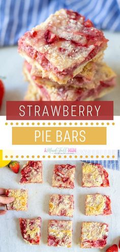 Strawberry Pie Bars are irresistible spring season food! Buttery shortbread crust is topped with a creamy strawberry filling with a hint of lemon, then finished with a streusel topping. An easy recipe perfect for sharing at spring picnics or parties! Pin this for later!