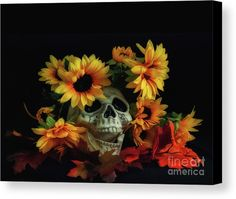 Skull And Flowers Canvas Print by Scott Hervieux.  All canvas prints are professionally printed, assembled, and shipped within 3 - 4 business days and delivered ready-to-hang on your wall. Choose from multiple print sizes, border colors, and canvas materials.